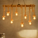 Wood Open Bulb Island Lighting Industrial Style 5/8 Lights Restaurant Hanging Billiard Light in Beige