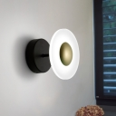 Metal Circular Wall Lighting Minimalist LED Sconce Light Fixture in Black for Living Room