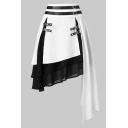 Girls' Unique Cool High Waist Buckle Belt Contrasted Tiered Asymmetric Hem Short A-Line Skirt
