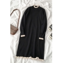 Black Popular Long Sleeve Mock Neck Lettuce Edge Contrasted Knit Midi Oversize Dress for Women