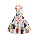 Pretty Vintage Sleeveless Boat Neck All Over Fruit Printed Belted Mid Pleated Swing Dress for Ladies