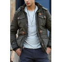 Solid Popular Long Sleeves Multi Pockets Drawstring Waist Thick Cargo Jacket with Hood