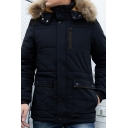 Men's Leisure Fashion Long Sleeve Zip Up Fur Trimmed Hood Warm Parka Coat