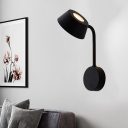 Metal Flared Wall Lamp Modernist LED Sconce Light Fixture in Black with Swing Arm
