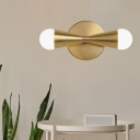 Tapered Sconce Light Modernist Metal 2 Heads Brass Wall Mounted Lamp with Milk Class Shade