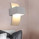 Square Sconce Light Contemporary Metal LED White Wall Mounted Lamp in White/Warm Light