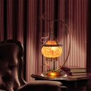 Orange Glass Stove Shaped Night Light Art Deco 1 Light Bedroom Table Lamp with Curly Arm