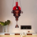 Copper 1 Bulb Ceiling Pendant Light Traditional Red/Green Glass Lantern Shaped Hanging Light Fixture