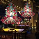 Bell Metal Chandelier Pendant Light Antique 3 Lights LED Restaurant Suspension Lamp in Pink with Cherry Blossom