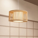 Cylinder Pendant Lamp Asian Bamboo 1 Head Beige Ceiling Hanging Light for Restaurant