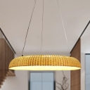 Japanese Round Hanging Light Bamboo LED Ceiling Suspension Lamp in Beige for Teahouse