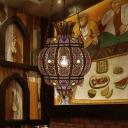 Lantern Shape Restaurant Hanging Lighting Traditional Metal 1 Bulb Black Ceiling Lamp