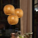 Japanese 1 Bulb Ceiling Lamp Brown Lantern Hanging Pendant Light with Bamboo Shade