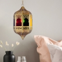 Incense Burner Metal Hanging Lamp Antiqued 1 Head Restaurant Pendant Light Fixture in Brass