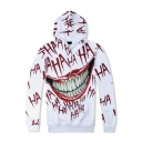 Men's Unique Grin Letter HAHA 3D Printed Long Sleeves White Casual Hoodie