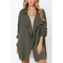 Fall Stylish Notched Collar 3/4 Length Sleeves Plain Tunic Loose Trench Coat