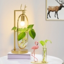 LED Metal Nightstand Lamp Vintage Gold Oval Living Room Plant Table Light with Deer Head Decoration