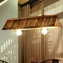 Japanese Flare Island Light Bamboo 2 Bulbs Suspended Lighting Fixture in Brown with Adjustable Chain