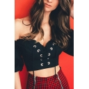 Edgy Girl Black Stringy Selvedge Sweetheart Neck Off Shoulder Short Sleeves Lace-Up Crop Blouse Top