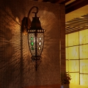 1 Light Wall Mounted Lighting Vintage Restaurant Sconce Lamp with Urn Shape Metal Shade in Black