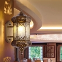 1 Bulb Wall Sconce Lighting Traditional Lantern Metal Wall Mount Lamp in Brass with Seeded Glass Shade