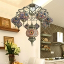 Traditional Oval Chandelier Pendant 9 Heads Blue/Red Stained Glass Hanging Ceiling Light