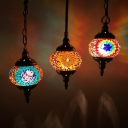 3 Bulbs Stained Glass Hanging Lamp Art Deco Red/Yellow/Orange Oval Restaurant Cluster Pendant Light