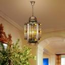 4 Heads Lantern Pendant Chandelier Traditionary Metal Suspended Lighting Fixture in Bronze