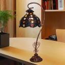 Black Scalloped Night Table Light Art Deco Metal 1 Bulb Study Room Nightstand Lighting