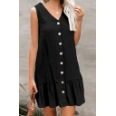 Elegant Ladies' Popular Sleeveless V-Neck Button Down Ruffled Trim Solid Color Mini Pleated Swing Dress