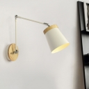 Metal Shaded Wall Lighting Chinese 1 Bulb White Sconce Light Fixture with Double Arm