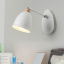 Asian Wide Flare Sconce Light Metal 1 Head Wall Mounted Lamp in White/Black for Bedside