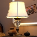 1 Bulb Crystal Night Light Antique Beige Paneled Bell Bedroom Table Lamp with Round Pedestal