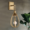 1 Bulb Teardrop Sconce Light Contemporary Metal Wall Mounted Lighting in Gold with Arm