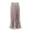 Amazing Formal Ladies' Elastic Waist Plain Maxi Pleated Skirt
