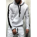 Sportive Contrast Stripe Printed Long Sleeves Kangaroo Pocket Drawstring Hoodie