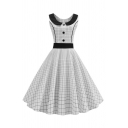 Vintage Women's Sleeveless Peter Pan Collar Button Front Contrasted Plaid Printed Mid Pleated Flared Dress