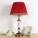 Fabric Red Night Lamp Tapered Single Head Traditionalism Table Light with Metal Round Pedestal