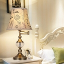 Retro Bell Table Lamp 1 Head Clear Crystal Nightstand Light in Beige/Light Brown with Fabric Shade