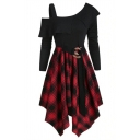 Fashion Girls' Long Sleeve Cold Shoulder Buckle Belted Plaid Print Asymmetric Hem Short Pleated A-Line Dress