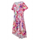Ethnic Women's Short Sleeve Boat Neck Fringe Detail All Over Floral Print High Low Midi Swing Dress