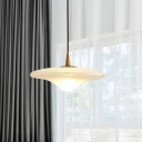 Contemporary Flared Pendant Lighting White Glass 1 Bulb Dining Room Ceiling Hanging Light