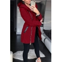 Stylish Ladies' Long Sleeve Hooded Zipper Front Pockets Side Plain Fitted Longline Jacket