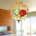 Stained Glass Red/Blue/Pink Semi Flush Mount Light Rose 2 Lights Tiffany Style Ceiling Lighting for Corridor