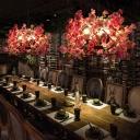 Pink Peach Blossom Pendant Chandelier Retro Metal 3 Bulbs LED Restaurant Suspension Light