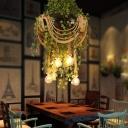 Exposed Bulb Restaurant Chandelier Lighting Industrial Hemp Rope 6 Bulbs Black Ceiling Pendant Light with Plant