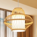 Japanese 1 Head Pendant Light Wood Curvy Suspended Lighting Fixture with Bamboo Shade