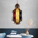 Geometric Coffee House Chandelier Traditional Brass Colorful Glass 3 Bulbs Pendant Lamp