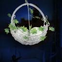 2 Bulbs Pendant Light Traditional Basket White Metal LED Suspension Lamp for Restaurant