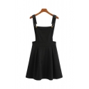 Girls Simple Plain Black Adjustable Straps Open Back Casual Pinafore Dress